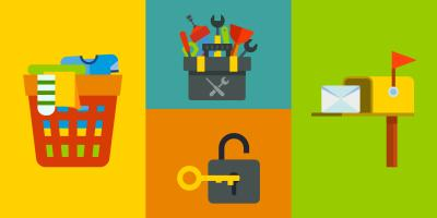 colorful illustrations of laundry basket, toolbox, key in lock, and a mailbox
