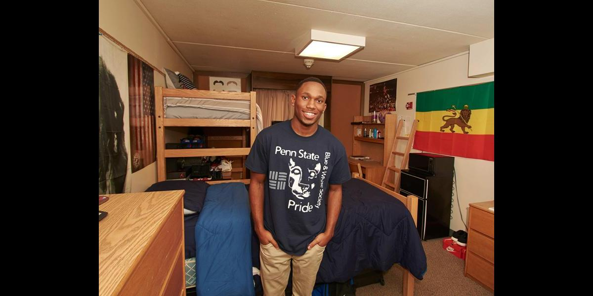 Male student in residence hall room