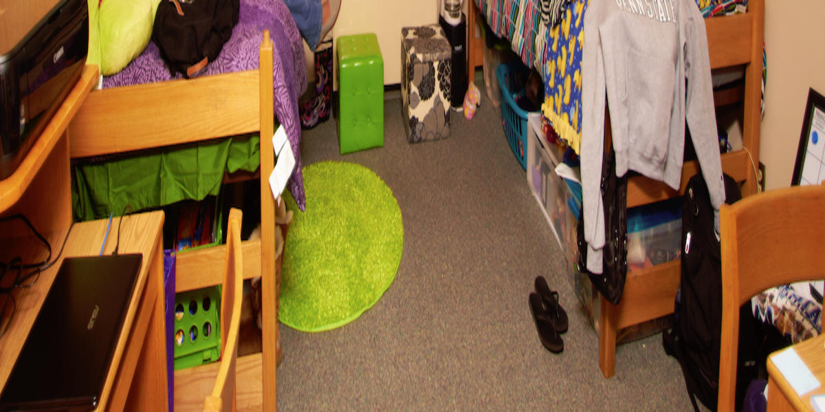 two students in their room in Maple Hall