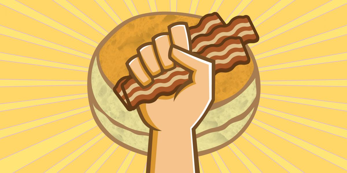 illustration of hand holding bacon in front of a sun that looks like a biscuit